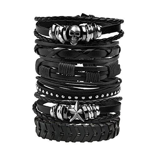 MILAKOO 6 Stück Lederarmband schwarz braun geflochten breites Armband Frauen Männer Punk Schmuck...