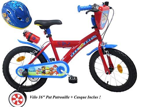 Fahrradhelm für Jungen, 16 Zoll, Paw Patrol 2 Bremsen PB/Kanister hinten + Fahrradhelm für Kinder,...