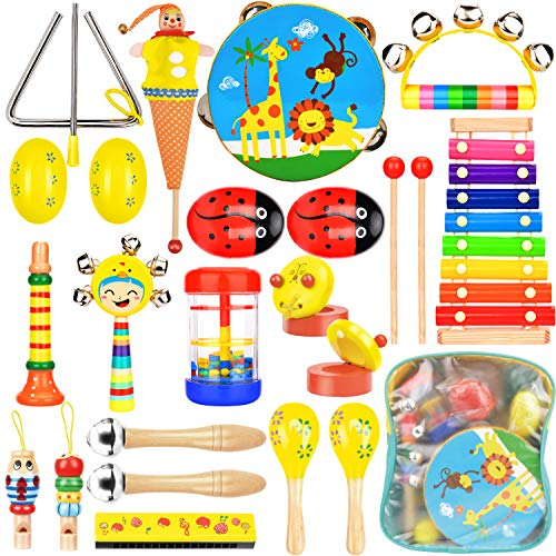 Wesimplelife Kinder Musikinstrumente Musical Instruments Set, Holz Percussion Set Schlagzeug Xylophon...