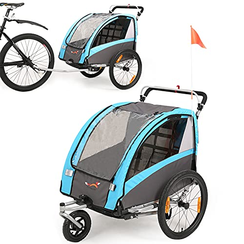 Fiximaster 2 in 1 Kinder-Fahrradanhänger, 360° drehbar, MUL-tifunktions-Kinderwagen, Baby-Buggy,...