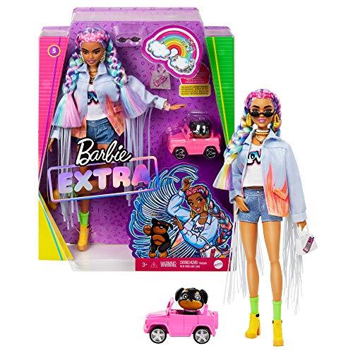 Barbie GRN29 - Barbie Extra Puppe mit geflochtenem Regenbogen-Zopf