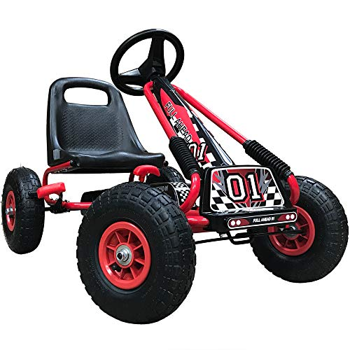 Kiddo RG0209 Kinderpedal Go-Kart Ride-On, Verstellbarer Sitz, Gummireifen, geeignet für 4 bis 8 Jahre,...