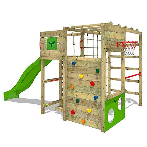 FATMOOSE Klettergerüst Spielturm FitFrame mit apfelgrüner Rutsche, Gartenspielgerät mit Kletterwand &...
