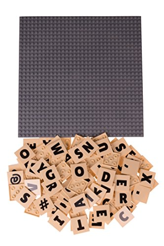 Strictly Briks Alphabriks, Stapelbare Bauplatte & 100 Buchstaben-Plättchen mit 4 x 4 Noppen zum Lernen &...