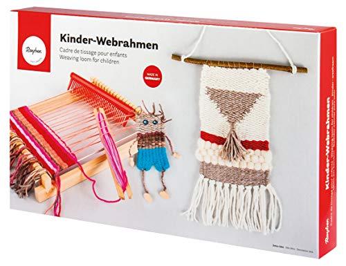 Rayher 7202200 Holz Kinder-Webrahmen, 18,5 x 29 cm, Webbreite 16,5 cm, mit Webschiffchen und Webkamm