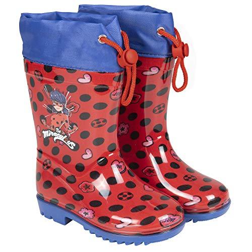 PERLETTI Miraculous Ladybug Regenstiefel Mädchen - Kinder Regen Schnee Stiefel Lady Bug Cat Noir mit...
