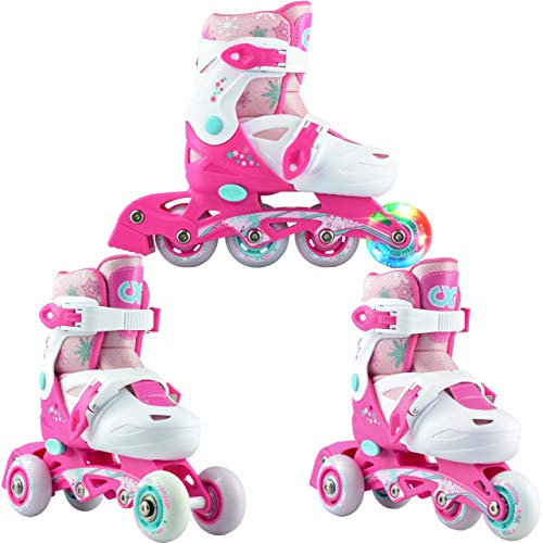 3in1 Kinder Inlineskates/Triskates/Rollschuhe Croxer Missy verstellbar mit LED leuchtendem Rad (27-30...