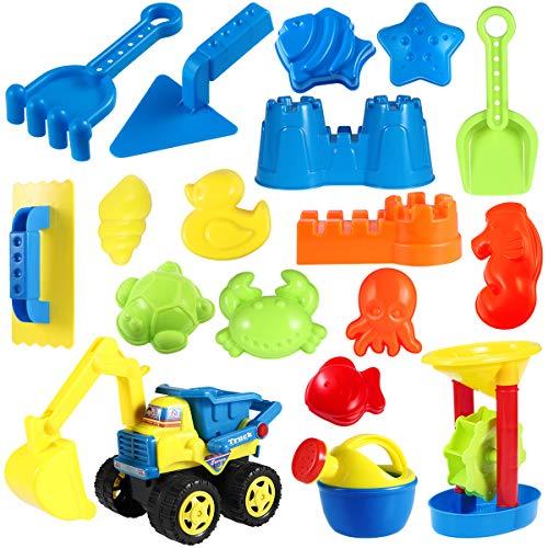 Toyvian 18 Stück Strand Sandspielzeug Set mit Sand Förmchen, Technisches Fahrzeug, Gießkanne,...