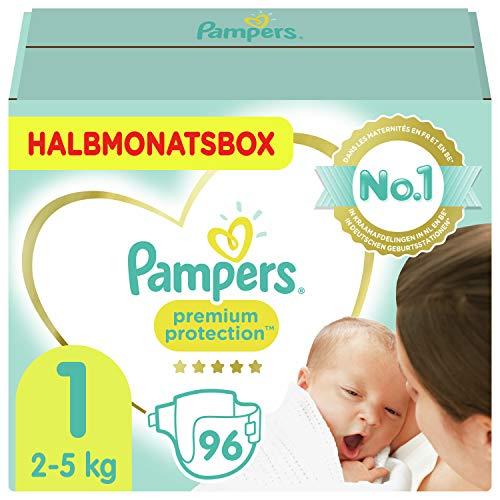 Pampers Größe 1 Premium Protection Baby Windeln, 96 Stück, HALBMONATSBOX, Weichster Komfort Und Schutz...
