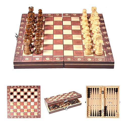 DEWIN Internationales Schach - Internationales Schach aus Holz 3 In 1 Magnetisches internationales...
