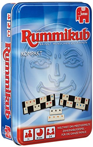 Jumbo JUM03817 Original Rummikub Kompakt in Metalldose Gesellschaftsspiel, Ab 7 Jahren