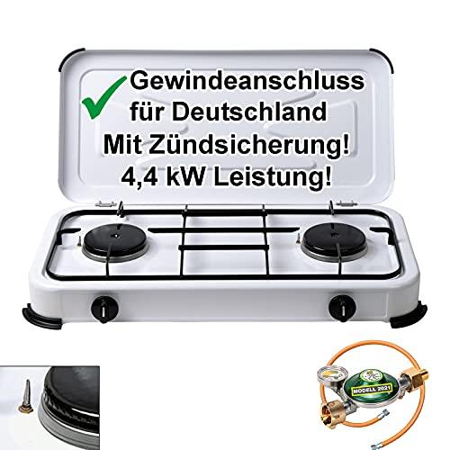 CAGO Campingkocher Gaskocher 2 flammig mit Zündsicherung inkl. Gasschlauch und Gasregler mit...