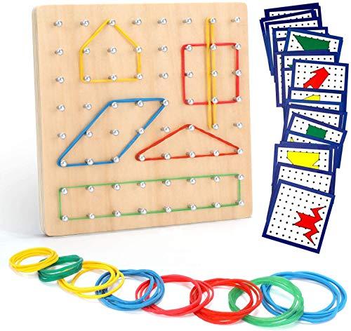 Ucradle Holz Geoboard Set Geometriebrett Montessori Spielzeug mit Aktivitäts Muster Karten und Gummi...