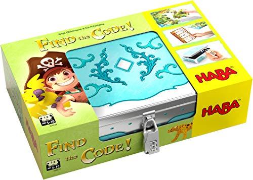 HABA 304839 - Find the code! Pirateninsel, Rätselspiel mit Schatzkarten-Puzzle und Schatzkiste zum...