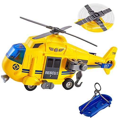 HERSITY Hubschrauber Kinder mit Drehpropeller, Flugzeug Spielzeug Groß Licht und Sound Helikopter...