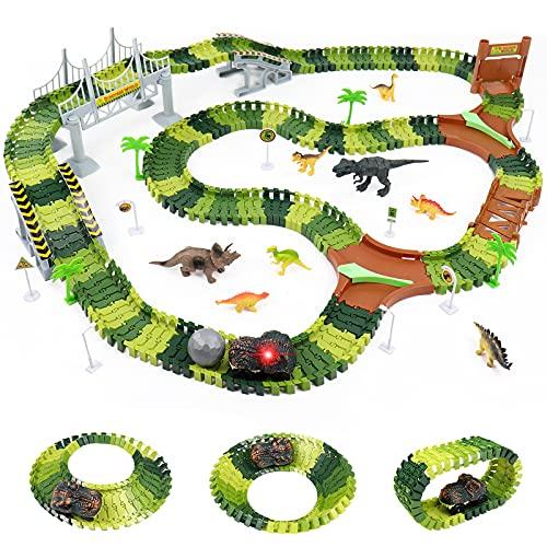 Dinosaurier Cars RennbahnKinder - StraxBahn 216 Stück Flexible Autorennbahn Spielzeug...