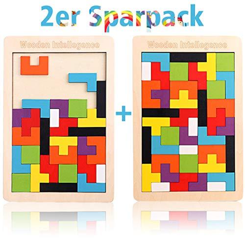2 Pack Tetris Holz Tangram Kinder Pädagigisches Spiel bunt Holzpuzzle geometrisch Formen mit Box...