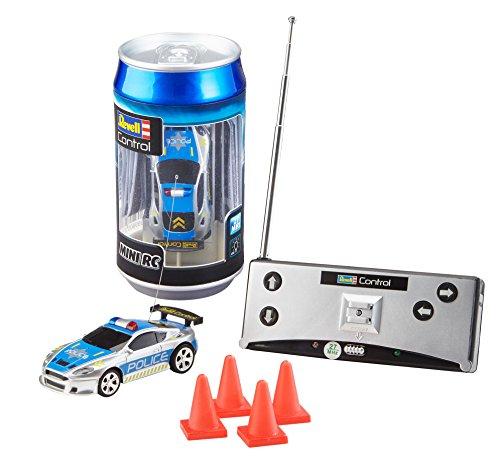 Revell 23559 Mini RC Police Car aus der Dose mit 27MHz-Fernsteuerung inkl. Ladefunktion, LED-Licht, kurze...