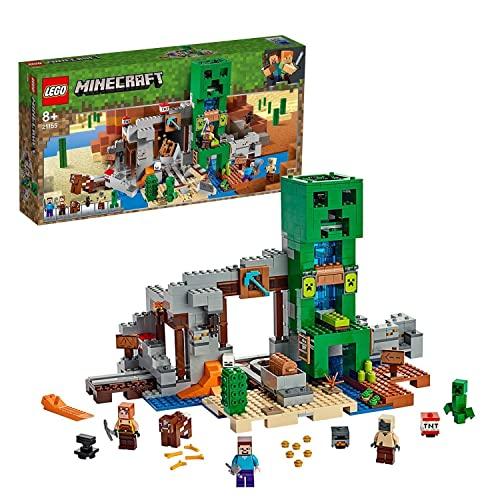 LEGO 21155 Minecraft Die Creeper Mine, Bauset mit Steve, Minecraft-Schmied, Wüstenzombie, Creeper und...