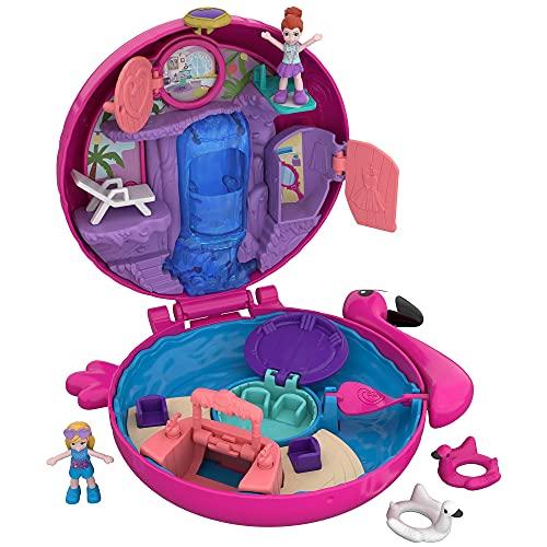 Mattel Polly Pocket FRY38 World Flamingo-Schwimmring Schatulle