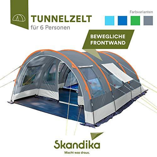 skandika Tunnelzelt Helsinki für 6 Personen | Familienzelt mit teilbarer Schlafkabine, beweglicher...