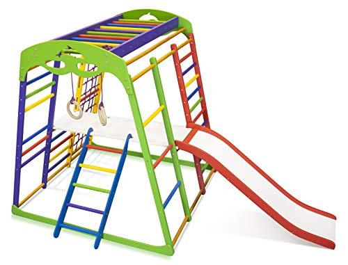 Kinder zu Hause aus Holz Spielplatz mit Rutschbahn ˝Unga-Plus-2˝ Kletternetz Ringe Kletterwand