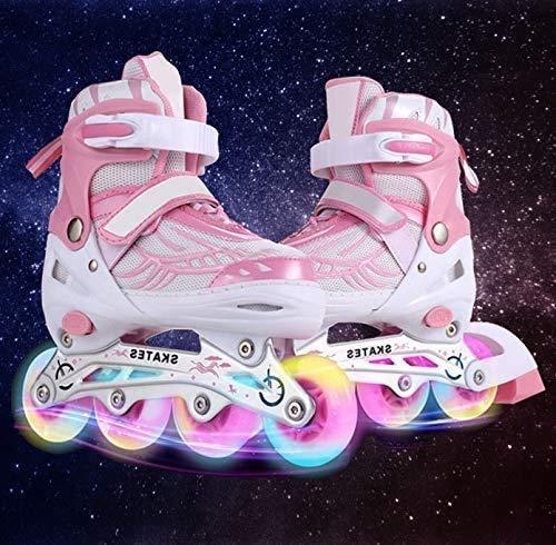 Hesyovy Leucht PU Räder Inline-Skates für Kinder, größenverstellbar von 31 bis 42, ideal für...