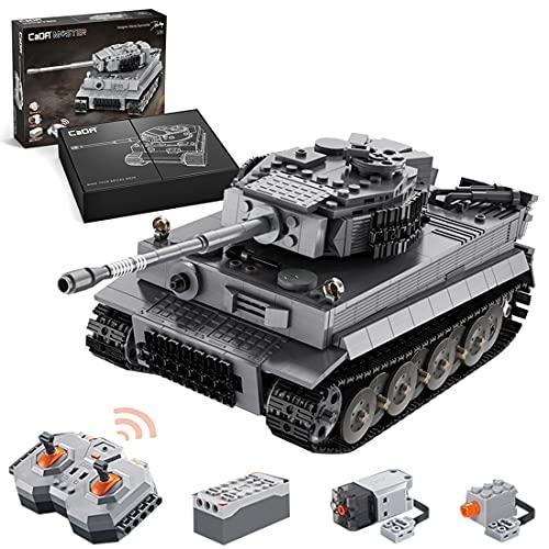 CADA Technik Panzer mit Motor & Fernbedienung, WW2 Militär Tiger Panzer Militär Panzerträger...
