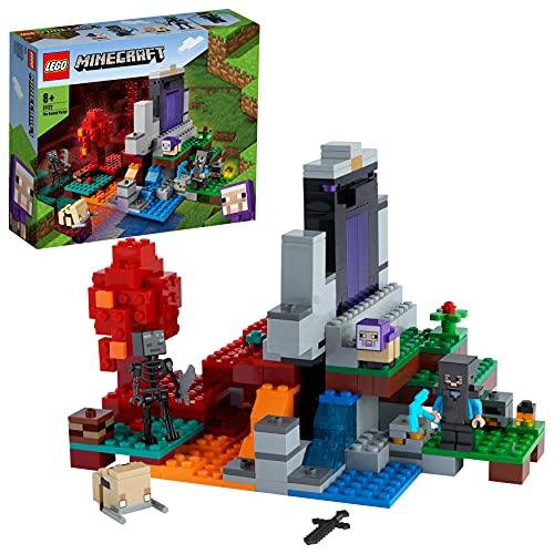 LEGO 21172 Minecraft Das zerstörte Portal Minecraft Spielzeug Set ab 8 Jahre mit Figuren aus dem...