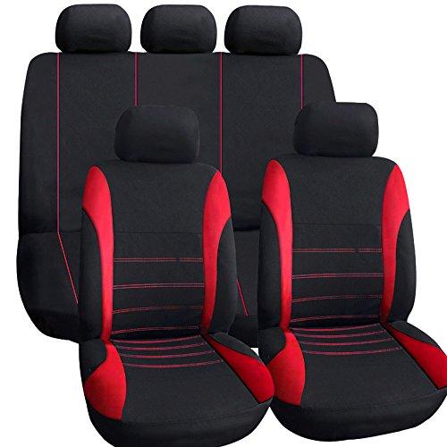 KKmoon, Universal-Autositzbezüge, 9-teilig, zusammenklappbar, Sitzauflage rot