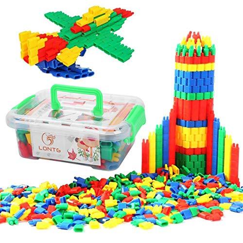Qchomee 280/450 Stück Bauklötze Steckbausteine Steckspiel Förderung Spielspaß Spielzeug Kunststoff...