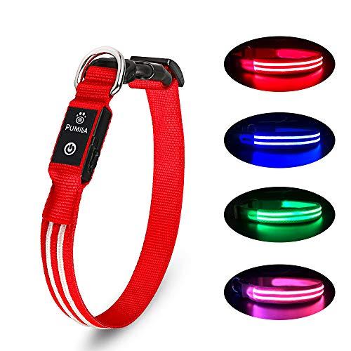 LED Hundehalsband Wiederaufladbare USB Leuchthalsband 100% Wasserdichtes Leuchtendes Hunde Halsband...