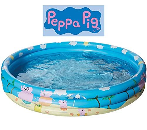 Smart Planet® Planschbecken Peppa Pig aufblasbar - 122 x 23 cm - 3-Ring-Pool Peppa Wutz - Kinderpool -...