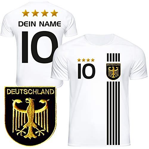DE FANSHOP Deutschland Trikot mit GRATIS Wunschname + Nummer #D5 2021 2022 EM/WM weiß - Geschenk für...