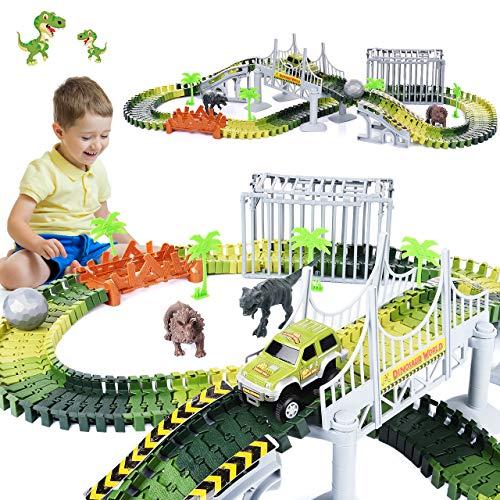 LetsGO toyz Kinderspielzeug ab 3-8 Jahre, Dinosaurier Spielzeug Auto Rennstrecken Spielzeug 2-8 Jahre...