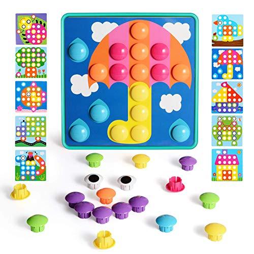 NextX Mosaik Steckspiel mit 46 Steckperlen und 10 Bunten Steckmosaik für Kinder ab 2 Jahre...