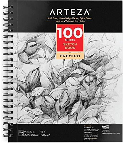 Arteza Skizzenblock 100 Blatt, spiralgebundener Zeichenblock 22.9 x 30.5 cm mit säurefreiem...