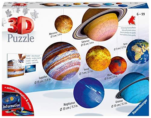 Ravensburger 11668 3D Puzzle Planetensystem für Kinder ab 7 Jahren - 8 Puzzleball-Planeten als...