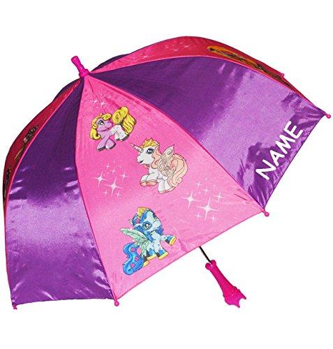 alles-meine.de GmbH Regenschirm -  Filly Pferde / Einhorn  - incl. Name - Kinderschirm Ø 68 cm - Kinder...