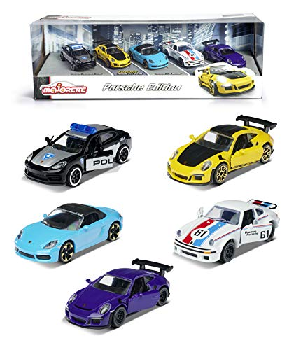 Majorette Porsche 5er Geschenkeset, 5 Fahrzeuge, Spielzeugautos mit Federung, Modelle: Porsche 911 GT3...