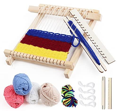 Weben für Kinder Set, DIY Holz Webrahmen Set 22 x 17cm Bespannen von Webrahmen, Holz Kinder-Webrahmen...