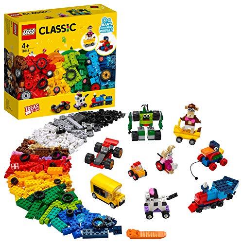 LEGO 11014 Classic Steinebox mit Rädern, Bauset für Kinder, Spielzeug ab 4 Jahren mit Spielzeugauto,...