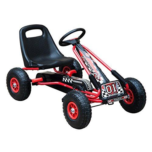 HOMCOM Go Kart Kinderfahrzeug Tretauto mit Pedal Bremsen Kinderspielzeug für 3-8 Jahre Gummiräder Stahl...