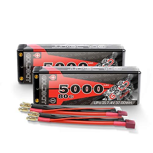 GOLDBAT RC Batterie 7,4 V LiPo 5000mAh 80C 2S Lipo Batterie Hartschalenkoffer mit Dekanstecker für RC...