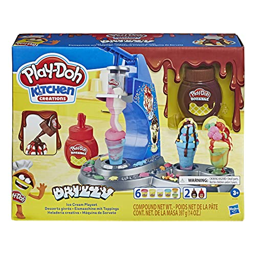 Play-Doh E6688 Drizzy Eismaschine mit Toppings, inklusive Drizzle Knete und 6 Farben