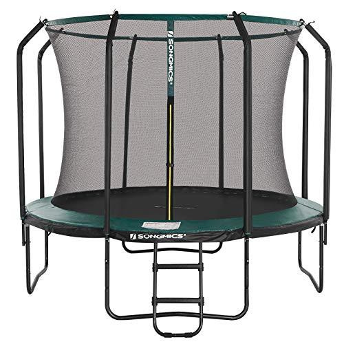 SONGMICS Trampolin 305 cm, rundes Gartentrampolin mit Sicherheitsnetz und Leiter, gepolstertes Gestell,...