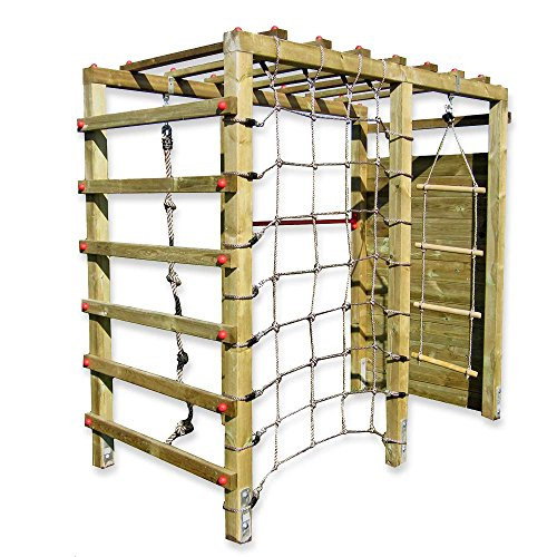 Gartenpirat Klettergerüst Premium mit Kletterwand Spielgerüst aus Holz für den Garten mit Reck und...