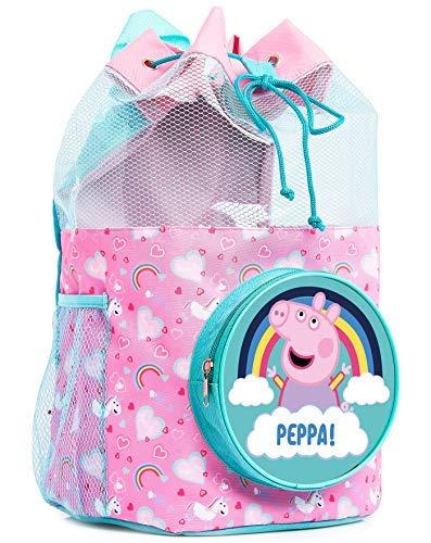 Peppa Pig Schwimmtasche Kinder, Einhorn Beutel Rucksack mit Peppa Wutz, Rosa Schwimmtasche Mädchen für...