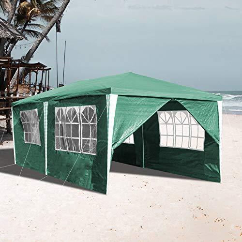 VINGO 3x6m Pavillon Wasserdicht mit 6 Seitenteilen Grün Gartenzelt Partyzelt UV-Schutz Gartenpavillon...