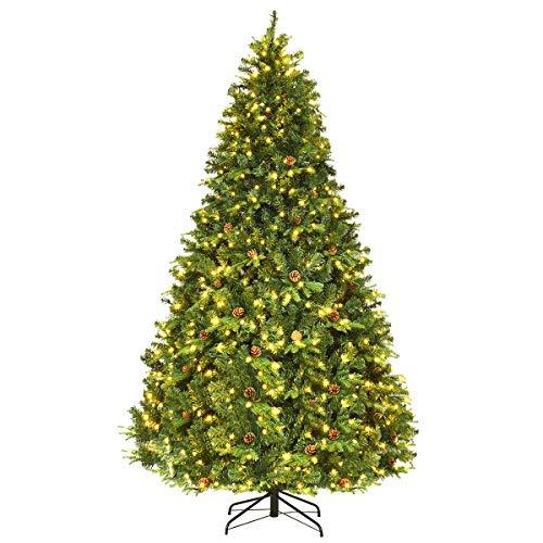 COSTWAY 210/225/240cm LED Künstlicher Weihnachtsbaum, Christbaum mit Klappsystem und Metallständer,...